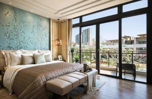 公寓别墅新中式卧室背景墙装修效果图