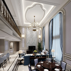 别墅最中空新中式现代客厅装修效果图