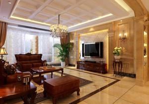 230平新中式别墅大客厅吊顶装修效果图