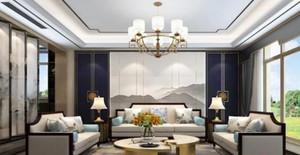 140平米新中式别墅大厅背景墙装修效果图