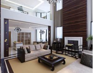 240平方房子新中式别墅大厅背景墙装修效果图