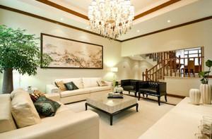 200平方新中式别墅客厅背景墙装修效果图
