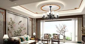 70平米房子新中式别墅客厅背景墙装修效果图