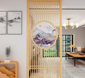 100平米新中式客厅玄关隔断装修效果图