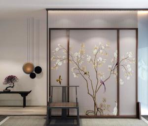 125平米新中式客厅玄关隔断装修效果图
