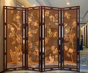 110平米新中式客厅玄关隔断装修效果图