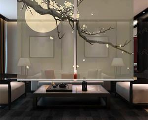 130平米新中式客厅玄关隔断装修效果图