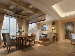 80平方复式小美式风格客厅横梁吊顶装修效果图