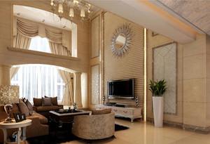 130平方别墅宜家风格客厅横梁吊顶装修效果图