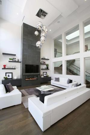 200平方别墅北欧极简风格客厅横梁吊顶装修效果图