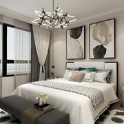 卧室现代背景墙三居室装修