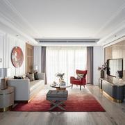 客厅简约地面三居室装修