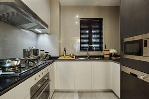 现代风格小户型u字形厨房装修效果图