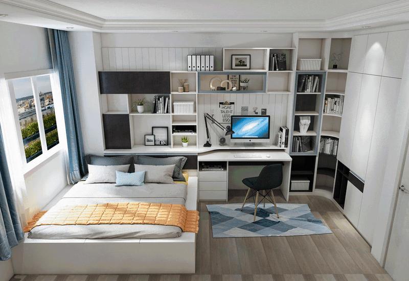 卧室书房一体效果图
