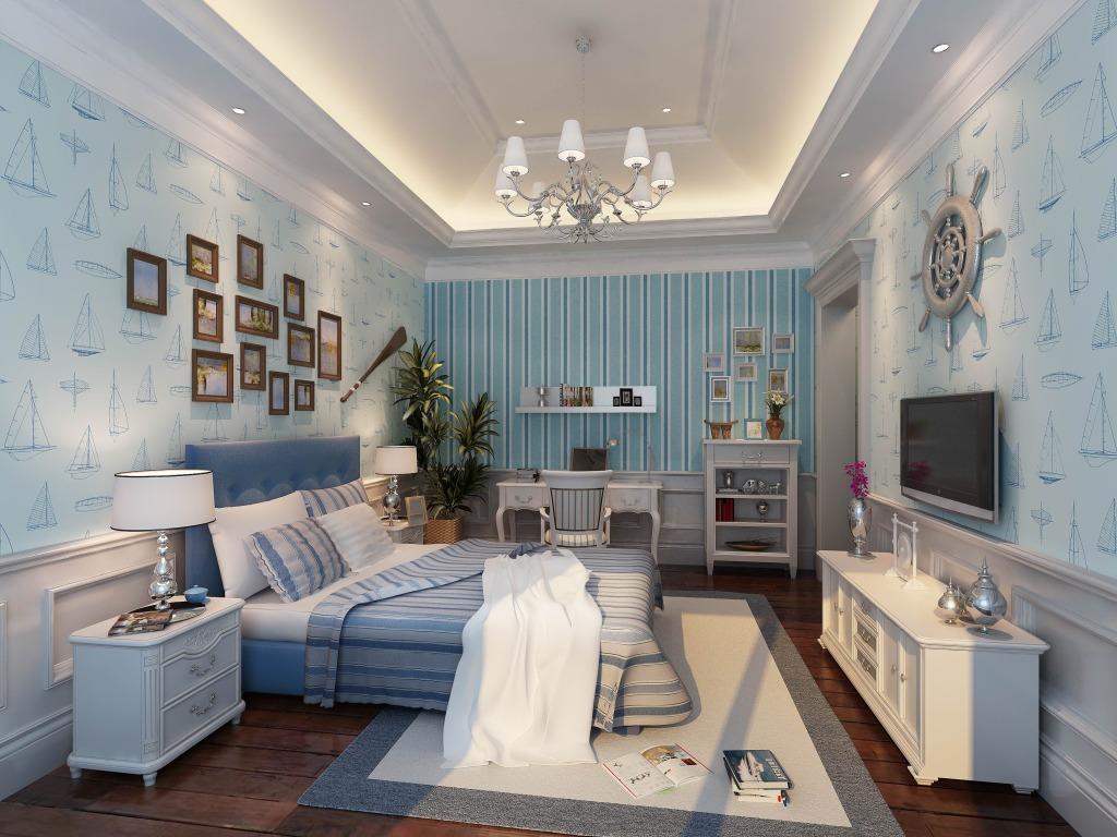 地中海卧室风格设计效果图