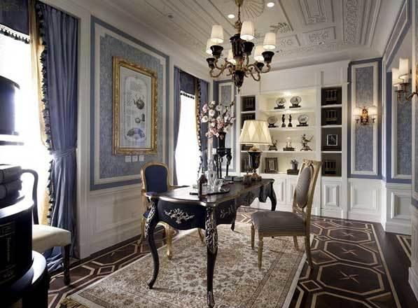 高贵优雅别墅型欧式风格书房装修效果图鉴赏