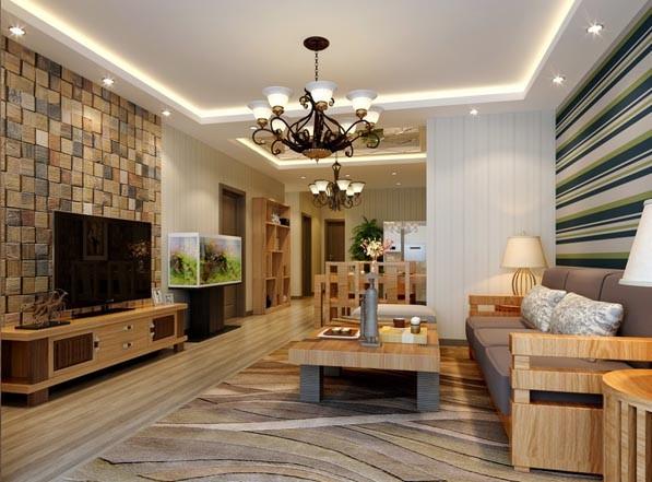 美式乡村风格四居室客厅装修效果图