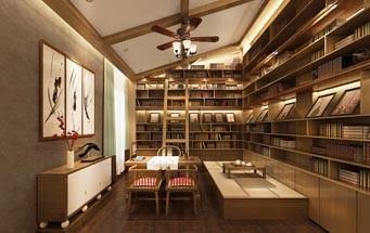 30平米现代中式风格书房www.lt088.com效果图鉴赏