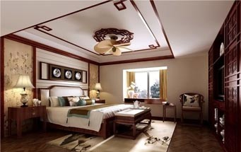 100平米大户型精致的中式卧室www.lt088.com效果图