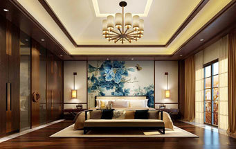 中式风格精美雅致卧室背景墙装修效果图