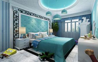 地中海风格大户型蓝色卧室背景墙装修效果图赏析
