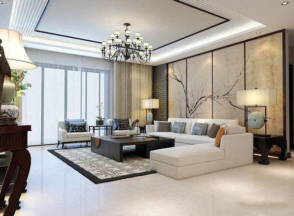新中式风格大户型典雅客厅装修效果图欣赏
