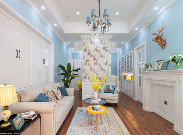 清新美式风格大户型客厅装修效果图赏析