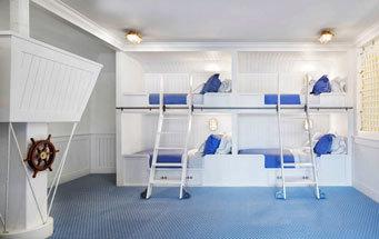 地中海风格清新双层床儿童房设计装修效果图