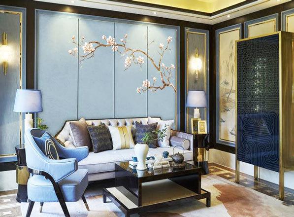 中式风格雅致精美客厅背景墙装修效果图
