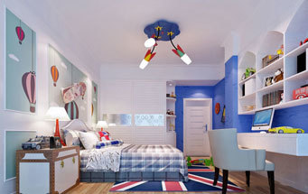 地中海风格海洋蓝色儿童房设计装修效果图
