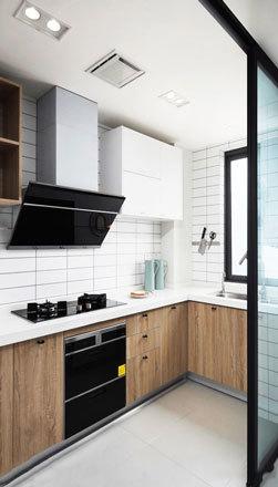 现代简约风格厨房推拉门装修效果图