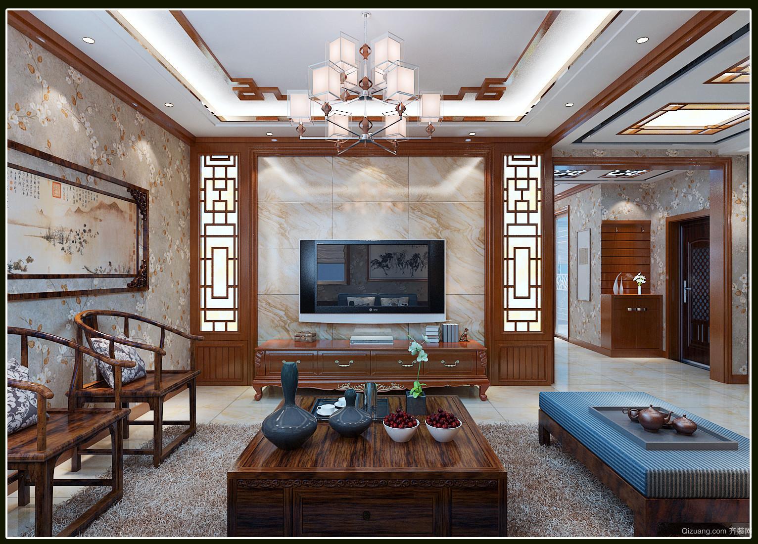 东河湾中式中式风格装修效果图实景图