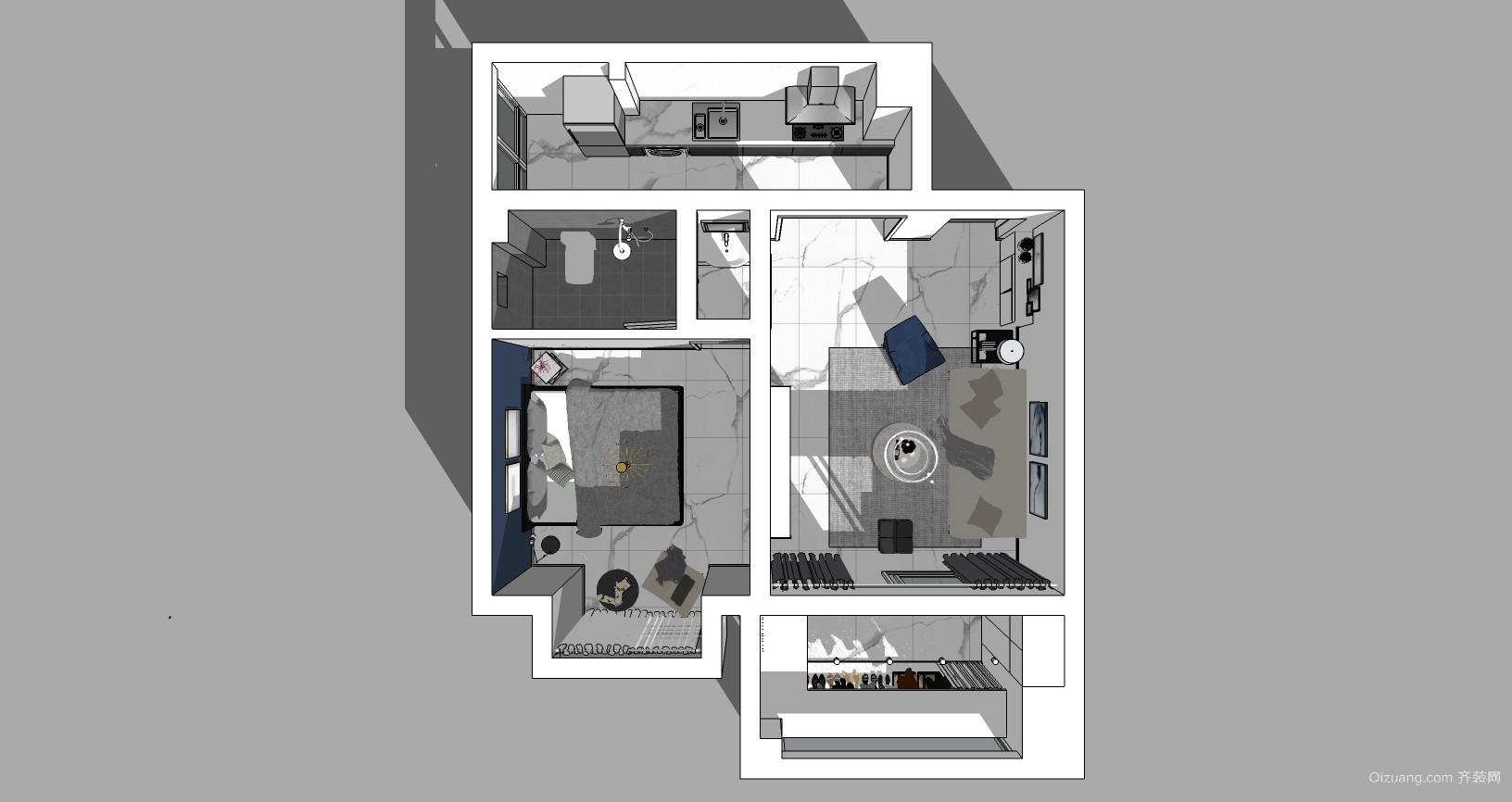 海伦堡现代简约装修效果图实景图