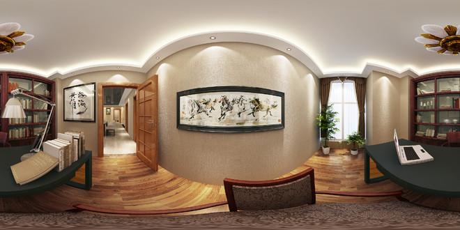 中式设计风格全景3D效果图展示