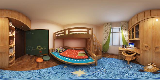 中式儿童房全景3D效果图