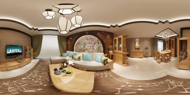 中式客厅720全景效果图