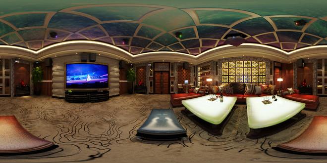 中式风格典雅KTV包厢3D效果图