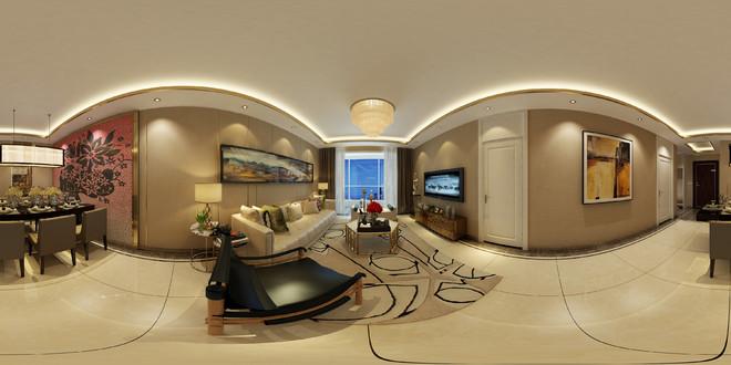 新中式风格典雅客厅3D效果图
