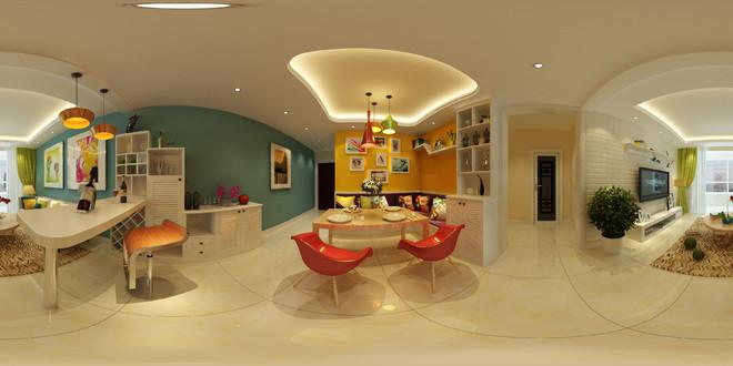 时尚小清新风格客厅3D效果图
