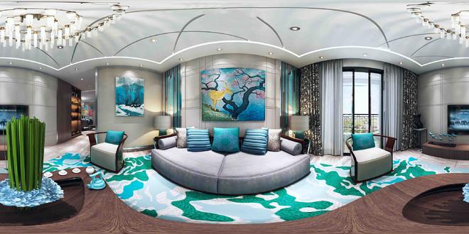 中式风格写意山水客厅3D装修效果图