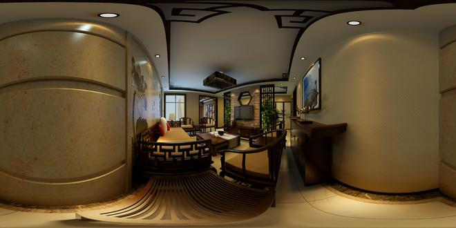 中式风格精致典雅客厅3D装修效果图