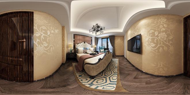 新中式风典雅卧室3D效果图鉴赏