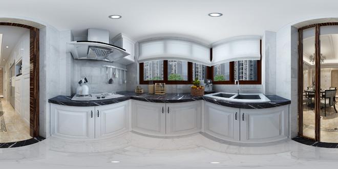 简欧风格厨房3D室内效果图