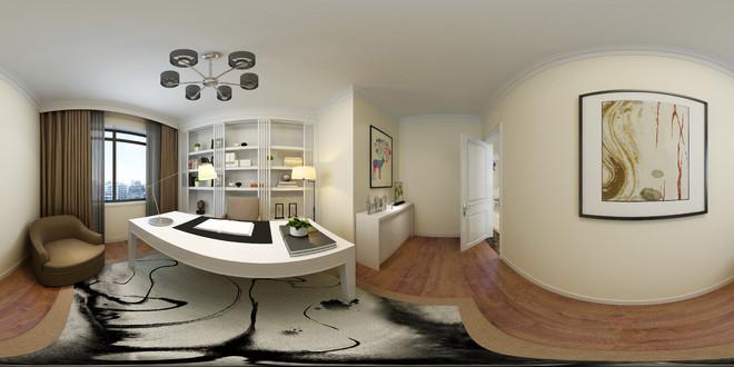 现代简约风格精致书房3D效果图