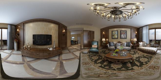 美式风格精致古典客厅3D效果图