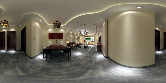 新中式风格客厅3D效果图