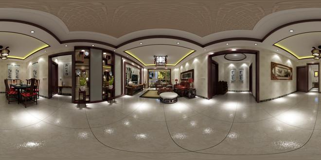 中式风格精致古典客厅3D效果图