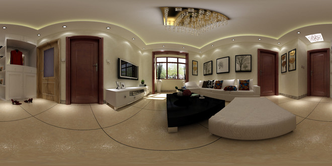 简约中式风格精致客厅3D效果图