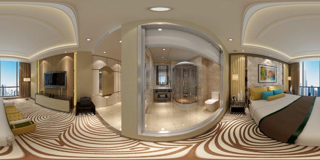 新中式风格精致卧室3D效果图