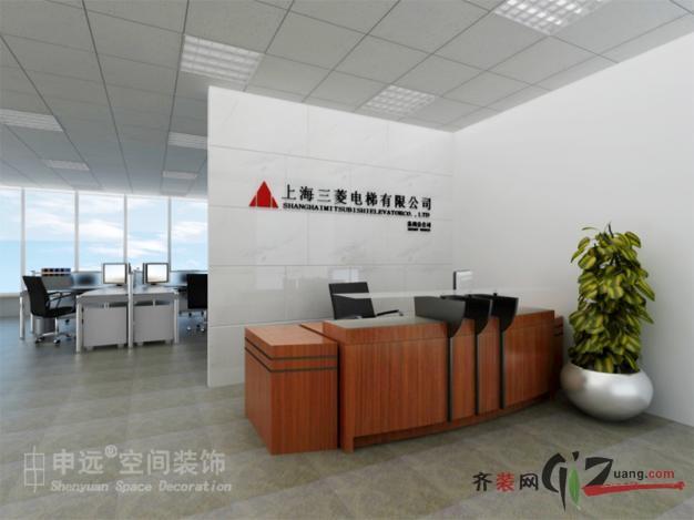 申远空间装饰上海三菱电梯苏州公司办公室装修现代简约装修效果图2011